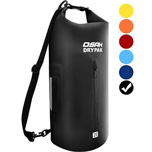 OSAH DRYPAK Dry Bag Wasserdichter Packsack wasserdichte Tasche Sack Beutel Lang Schulter Verstellbarer Schultergurt für Kajak Boot Angeln Rafting Schwimmen Wassersport Treiben (Schwarz, 20L) -