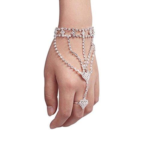VJGOAL Damen Armband, Mode Frauen Mädchen Strass Hand Armreif Kette Link Finger Ring Armband Frau Valentinstag Geschenk - Silber-armband-finger-ring