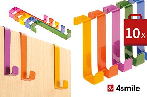 TÜRHAKEN 10 Stück von 4smile – Made in Germany ǀ Schrank-Haken rostfrei ǀ Tür-Kleiderhaken in Farbe bunt-sortiert