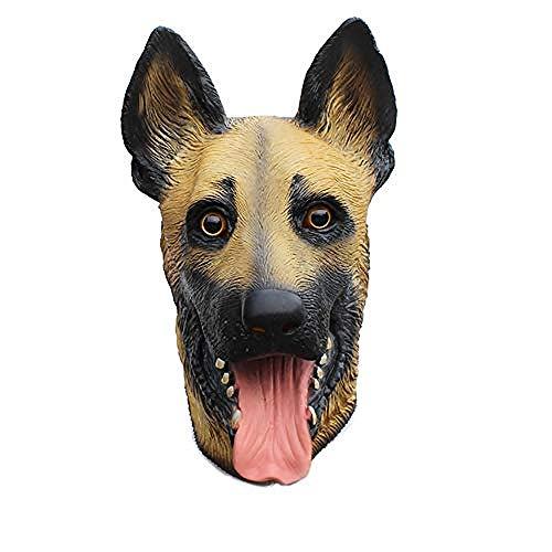 Deutscher Schäferhund Kostüm - acccc Neuheit Halloween Deutscher Schäferhund Maske Kostüm Hund Tier Kopfbedeckung Weiche und Bequeme atmungsaktive Erwachsenengröße
