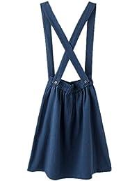 Lukis Damen Latzrock Kleid Vintag Rock mit Trägern