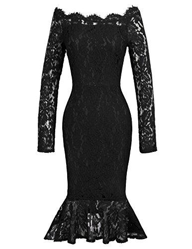 GRACE KARIN sexy Kleid Hochzeit Spitzenkleid Retro Langarm Kleider festlich meerjungfrau Kleider XL CL405-2 -