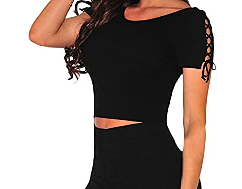 Bling-Bling Ribbed Lace Up Sleeves Crop Top(Black,M)
