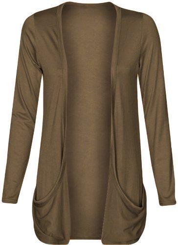 Damen Strickjacke, offen, lockere Taschen, große Größen, Gr. 46-56 Gr. xl, mokka