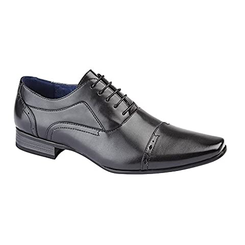 Route 21 Mens 5 Eye Capped Oxford Shoes (8 UK) (Black)