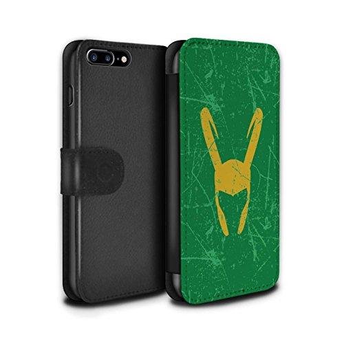 Stuff4® PU-Leder Hülle/Case/Tasche/Cover für Apple iPhone 7 Plus/Loki Helm Inspiriert Muster/Antiheld Comic-Kunst Kollektion (Fälle Marvel-comic-iphone 4)