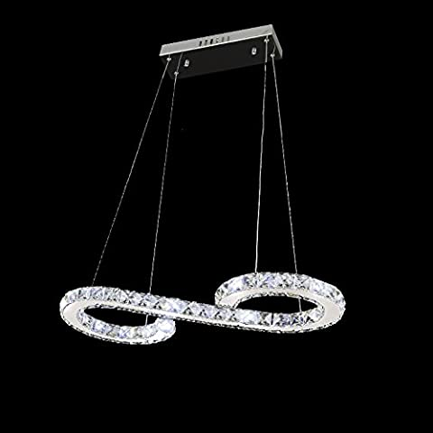 Moderne Conception 23W Forme S LED Cristal Lustre Blanc Froid 6000-6500K Éclairage Luminaire de Plafond AC 100-240V Lampe(60 x 30 cm) pour Salon, Salle à Manger, Chambre à
