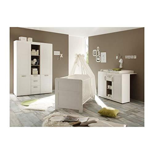 trendteam smart living Babyzimmer  3-teiliges Komplett Set Landi in Pinie Weiß Struktur, Absetzung Pinie Dunkel Dekor im Landhausstil -