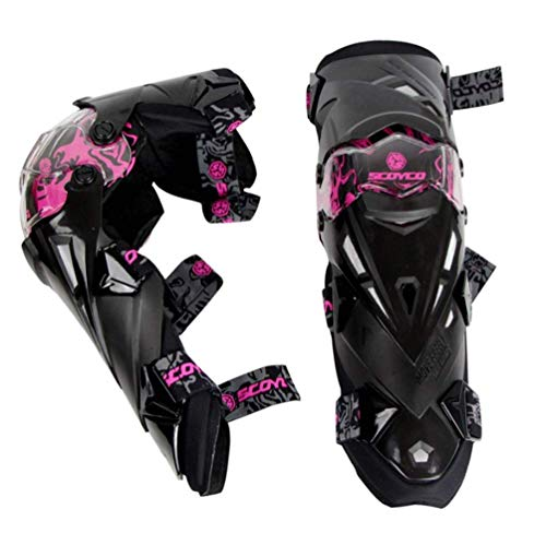 Wzmdd Kneepads Motocross Körperschutz Motorrad Knieschützer Profi Motocross Knieorthese Motorrad 2 Stück Motorrad, Schwarz (Color : Pink)