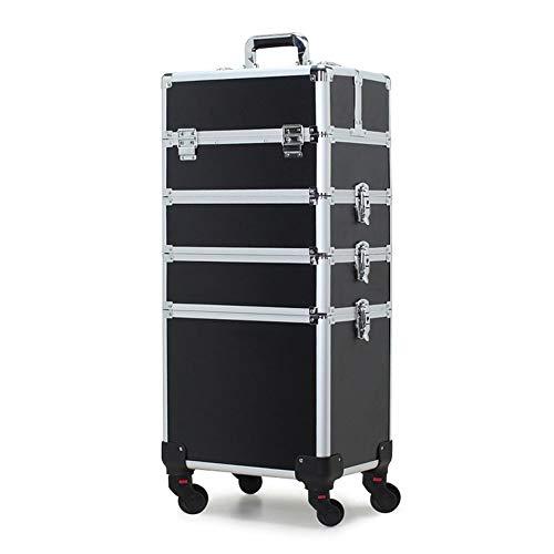 Kosmetikkoffer, professioneller Make-up Koffer, Schminkkoffer für Reisen, großer Trolley für Friseure, mit Universal-Rollen (Farbe : Schwarz)