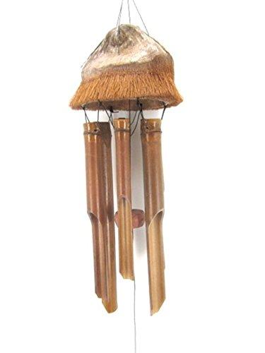 Windspiel Klangspiel Feng Shui Garten Wetterfest Bambus Kokosnuss Kokos Holz