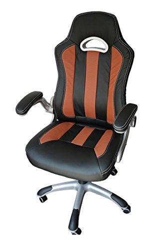 SPORTSITZ CHEFSESSEL Bürodrehstuhl Schalensitz Schreibtischstuhl Drehstuhl 212103 schwarz/braun Classic Car Seat Racer