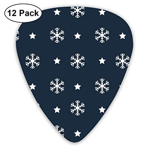 Vintage Navy Snowflake Pattern 351 Shape Classic Celluloid Guitar Pick For Electric Acoustic Mandolin Bass (12 Count) -