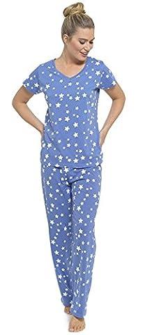 Ladies Printed Jersey Cotton Pyjamas Set Blue