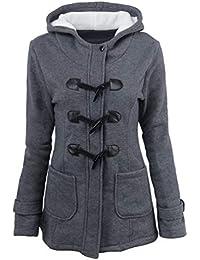 Baijiaye Mujer Invierno Abrigo Casual Sudadera con Capucha Largo Trenca Chaqueta Otoño Jacket Parka Duffle Coat