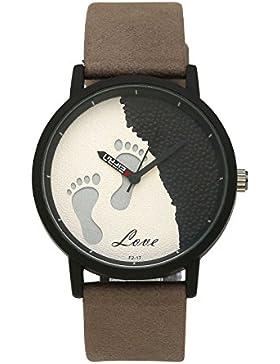 JSDDE Mode Armbanduhr Fußspur Footprint Stil Gehäuser Kontrast Farbe Analog Quarzuhr Lederband Wasserdicht Kleid...