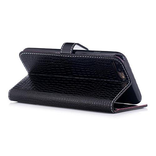 """Pour iPhone 7 Plus (5.5"""") Etui Coque Luxe Crocodile Texture PU Cuir Housse à rabat Portefeuille Antichocs Case - Bleu Foncé Noir"""