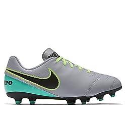 Nike Jungen Jr Tiempo Rio III Fg Fußballschuhe, grau/schwarz/türkis, 38.5 EU