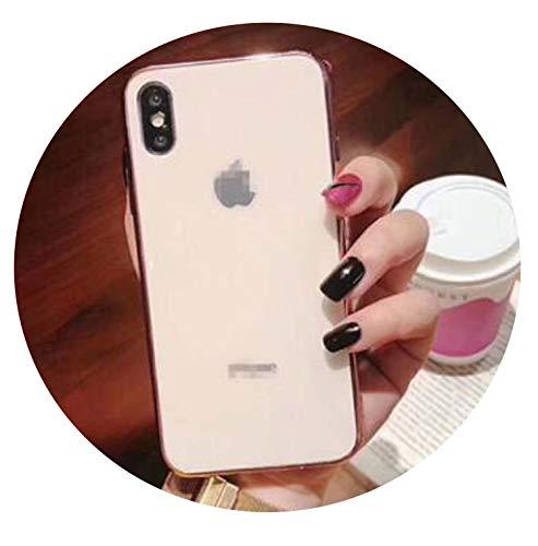 auguce Glas-Kasten für iPhone 6 7 8 10 Plus X XS XR MAX Abdeckung 7plus 8plus 6G 6S XSMAX Überzug-Spiegel Glossy-Handy-Fall, Rosen-Gold, für iPhone 7 8