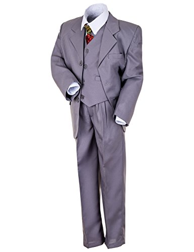 "Kinder Anzug ""Paul"" klassisch-elegant in 4 Farben! 5-tlg. Anzug in Schwarz, Grau, Braun u. Weiß! Sakko, Weste, Hose, Hemd u. Krawatte! Gr. 04 (116), grau"