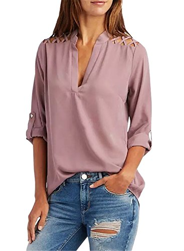 FIYOTE Womens V Neck Chiffon 3 4 Cuffed Sleeve Cut Out Cold Shoulder Casual Blouses Tops