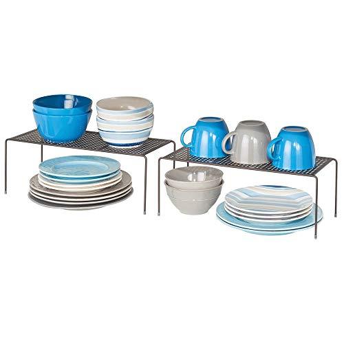 mDesign 2er-Set Geschirrablage für die Küche – freistehendes Tellerregal aus Metall – schmales Küchenregal für Tassen, Teller, Lebensmittel usw. – bronzefarben