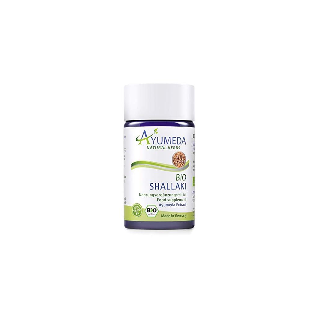 Ayumeda BIO Shallaki Extrakt | Boswellia serrata | Indischer Weihrauch | 264,6 mg Boswellia-Säuren je Tagesdosis | Geprüfte Qualität | Made in Germany | 60 Kapseln für 1 Monat | 100% BIO | 100% Vegan