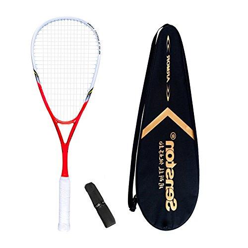 Senston Damen/Herren Squashschläger 100% Carbon Squash Schläger Set mit Squashstasche,Overgrip,Rot