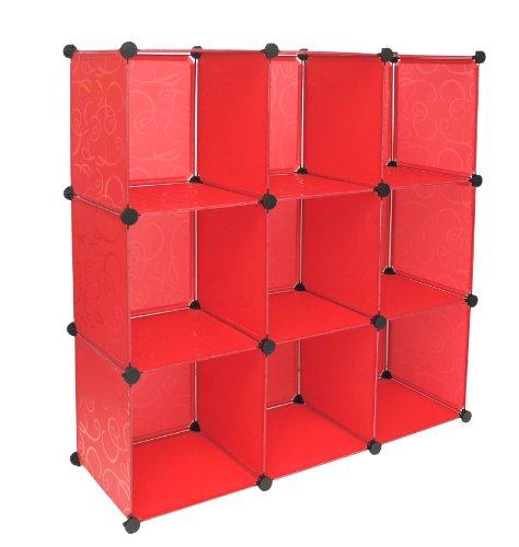 ts-ideen Regalsystem Büro Flur Regal Schrank Steckregal Wandregal Sideboard in Rot mit Muster 114 x 114 cm