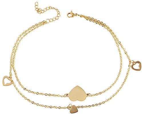 Akzent Edelstahl Fußkette Gold Herz 26+5 cm Fußkettchen