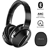 allcaca Cuffie Bluetooth con Eliminazione del Rumore Riduzione Attiva del Rumore Cuffie 5.0 Wireless Bluetooth, Cuffie Over-Ear ANC 60 Ore per iPhone/Android/PC/TV, Nero