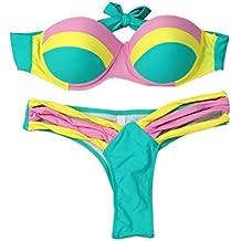 Pinklu Bikini Sexy para Mujeres Conjunto De Trajes De BañO Push-Up Sujetador Acolchado Traje