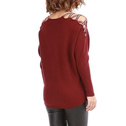 La Modeuse - Pull en maille à épaules ajourées Rouge