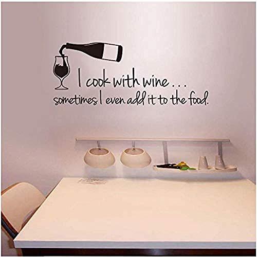 DIY & Tools Gourmet Aufkleber Ich Koche mit Wein Vinyl Wandaufkleber Aufkleber Wandbild Wandkunst Tapete Wohnkultur Raumdekoration Zubehör -
