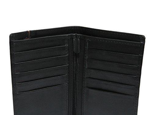 Nagelneue schwarze Luxuxfrauen reale lederne Mappe Großer Kapazitäts-Mappen-Geldbeutel, Identifikation-Halter, Münzen-Halter, Geld-Tasche, mit Reißverschlusstasche u. 12 Karten-Taschen (Geschenk-Kaste T2