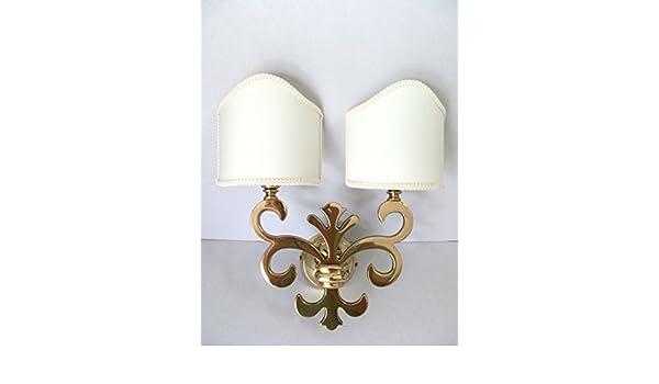 Applique in ottone lucido da parete made in italy giglio