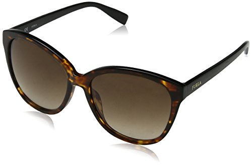 Furla eyewear, occhiali da sole donna, multicolore (shiny brown havana/yellow), 56