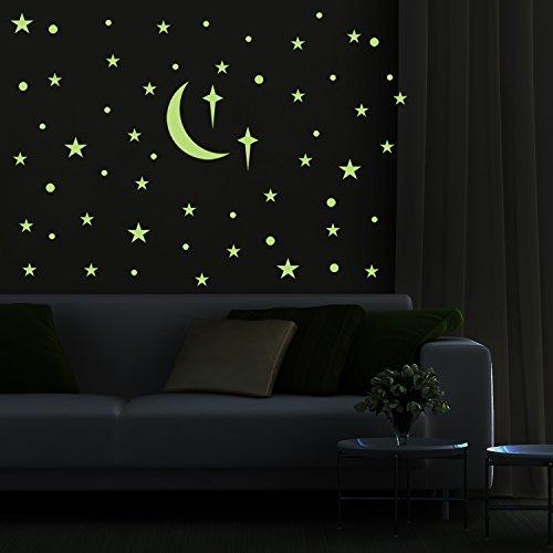 Glow in The Dark Sternen - Hippomene leuchtende Wandtattoos Aufkleber für Kinder Mädchen Jungen Schlafzimmer oder Geburtstagsgeschenk Pack von 69 Klebepunkte 70 Sterne 1 Mond (Ideen The Glow Dark Dekorationen In)