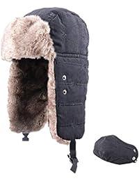 TRIWONDER Sombrero de Soldado trampero de Invierno Bomber Ruso Ushanka  Gorras Sombrero de esquí de Aviador 3abced6afa7