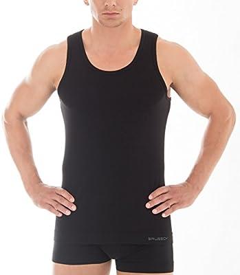 3xBrubeck Herren Smooth Skin Unterhemd moderne Form nahtlos (Herren Unterwäsche Sport Funktionswäsche PerfectFit Premium Qualität)