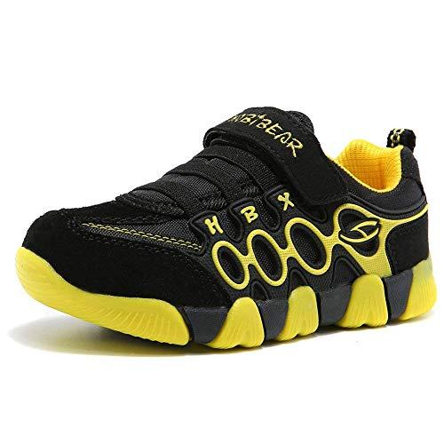 XIAO LONG Sportschuhe Jungen Mädchen Laufschuhe Atmungsaktiv Kinderschuhe Sneaker mit Klettverschluss Bequeme Turnschuhe Hallenschuhe Schuhe für Sommer Outdoor,Schwarz Gelb,38