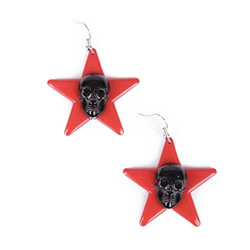 Acryl Stern ohrhänger , Ohrringe mit aufgesetztem Totenkopf , perfekt zu jedem Gothic,Rockabilly,Rock and Roll und Psychobilly Outfit (Outfits Roll And Rock)