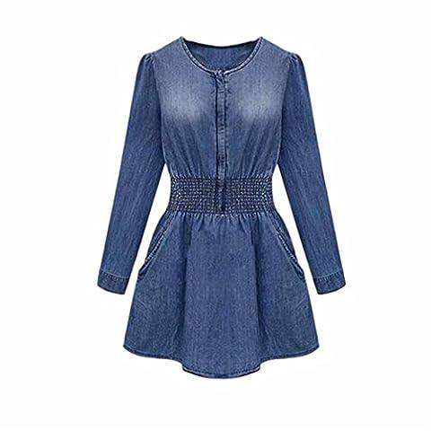 Robe Femme, Koly Mode Femme 2016 Mini-Robe Vintage Spring Femme Manches Longues Slim Casual Denim Jeans Party Ete Femme 2016 (L-épaule: 34cm, Bleu)