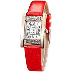 Mode Diamanten Damenuhr Quarz , red