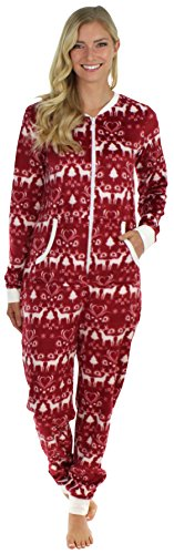 Frankie & Johnny Women's Adult Sleepwear Plush Fleece Non Footed Onesie - 41F0OWLAEiL - Frankie & Johnny Women's Adult Sleepwear Plush Fleece Non Footed Onesie