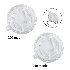 Jooheli Sieb Filter, 200 Mesh und 400 Mesh Filter Jam Kompatibel mit 5 Zoll Edelstahl Trichter, Trichter Sieb Filter für Filterung von Saft, Milch, Kaffee, Wein Warte, Bequeme Filterung Premium Feines