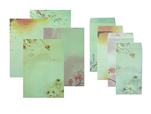 Vintage-stil-bogen (funcoo 32Vintage Beautiful Lovely Briefpapier Papier mit 20Umschlag + 1Bogen Label Seal Aufkleber Style-2)