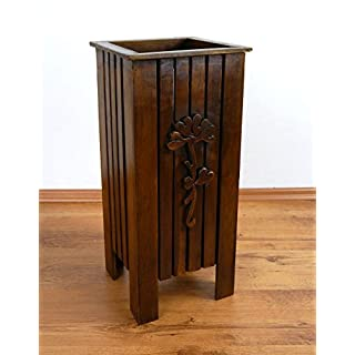 livasia Umbrella stand with flower carving Handmade in Thailand