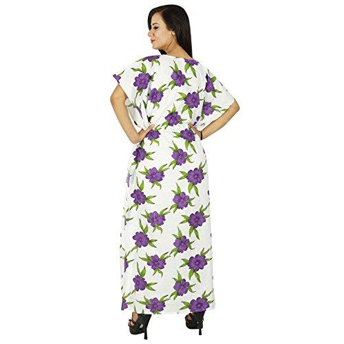 Phagun Caftan Robe Imprimée Maxi Vêtement De Nuitlongues En Coton Bohemian Blanc Et Olive Vert