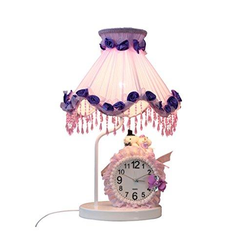 Schlafzimmer Stoff Nachttischlampe mit Uhr Nachtlicht A+++ ( Color : Purple-29*50cm )
